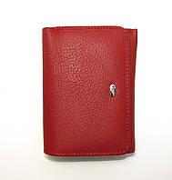 Кошелек кожаный красный удобный для маленьких сумочек