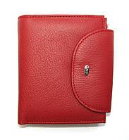 Стильный кошелек красного цвета натуральная кожа