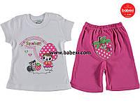 Нарядный комплект-двойка для девочек футболка+бриджи 86 см.Турция!Одежда на новорожденного