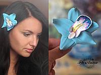 """Заколка цветок """"Бирюзовая орхидея с росписью"""" Украшения ручной работы из полимерной глины"""