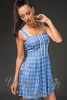 Летнее приталенное платье в клетку с кружевом и карманами (2 цвета)