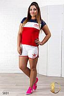 """Спортивный костюм женский летний больших размеров из трикотажа """"Адидас шорты"""""""