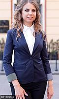 Офисный женский пиджак приталенного кроя с отложным воротником и подкоченными рукавами мемори коттон батал