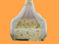 """Постельный набор в детскую кроватку """"Зайченок"""" бежевый 9эл."""