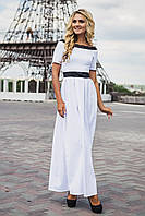 Нарядное длинное платье с кружевной отделкой белое
