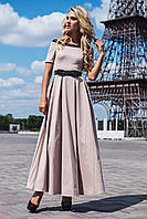 Нарядное длинное платье с кружевной отделкой бежевое