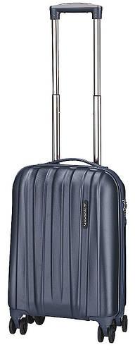 Малый стильный чемодан пластиковый 4-колесный 40 л. MARCH Rocky 3653/47 черный/синий