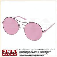 """Очки круглые (тишейды) """"Бимбо"""" солнцезащитные с зеркальными стеклами, розовые"""