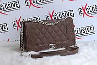 Элегантная стеганная сумка Chanel boy (Шанель Бой) коричневая.