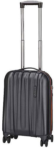 Пластиковый малый 4-колесный чемодан 40 л. MARCH Rocky 3653/17 черный/оранжевый