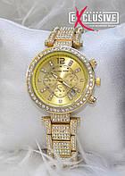 """Наручные часы в стиле """"Michael Kors"""" с датой и стразами."""
