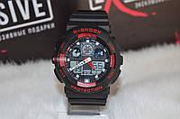 """Мужские спортивные часы """"Casio G-Shock ga-100"""" черные с красным."""