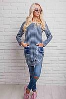 Модное платье в полоску с длинным рукавом