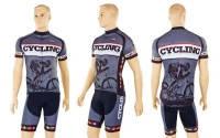 Велокостюм PALTHER NA-1198 (веломайка корот.рукав, велошорты, р-р XL-2XL, черно-серый)