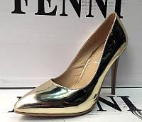 Туфли лодочки лаковые на шпильке золото и серебро F0008