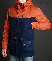 Весенне-осенняя куртка ( парка ) Staff - Cotton dark blue with orange Art. ELT0001 ( тёмно-синий \ оранжевый )