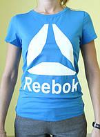 Женская футболка короткий рукав Reebok (77017) голубая с белым код 186 Д