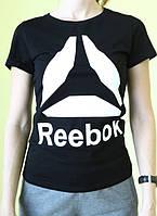 Женская футболка короткий рукав Reebok (77017) черная код 188 Д