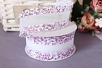 """Лента декоративная """"бант"""" с ажурным краем, 4 см, 20 ярд, фиолетового цвета оптом (рулоном)."""