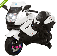 Мотоцикл детский аккумуляторный M 3208EL-1 EVA колеса+кожаное сиденье,белый