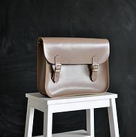Женская бежевая кожаная сумка на плечо А4 SATCHEL маленький размер сетчел
