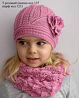 Уголок, ажурная шапочка для детей 2-7 лет. ОГ 48-54. Т.розовые, св.коралл, молоко, бирюза, белый