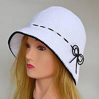 Женская шляпка. Коричневый, синий, белый.
