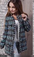 Оригинальный женский пиджак в клетку свободного фасона с атласной отделкой рукав длинный букле