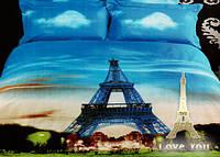 Комплект постельного белья Евро Love You 3D Сатин 200х220  Париж stp 332