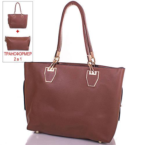 Коричневая женская сумка из качественного кожзаменителя ANNA&LI (АННА И ЛИ) TUP14460-12
