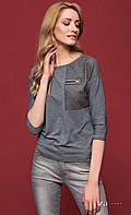 Женская блуза из вискозы серого цвета с рукавом три четверти. Модель Sati Zaps. Коллекция осень-зима 2016-2017