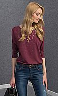 Женская блуза из вискозы цвета бордо с рукавом три четверти. Модель Tana Zaps. Коллекция осень-зима 2016-2017.