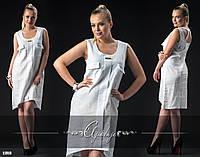 Белое платье лен