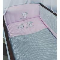 """Комплект для новорожденного в кроватку  8 предметов  """"Собачка""""  розовый"""