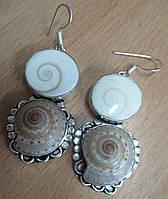 """Необычные оригинальные  серьги с ракушками и глазами Шивы  """"Морской мир"""" от LadyStyle.Biz"""