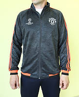 Мужская толстовка Adidas 95444 серая с чёрным и оранжевым код 206в