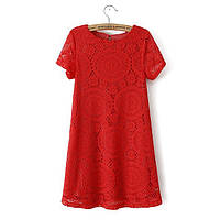 Платье женское кружевное летнее красное