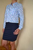 Рубашка женская бело-голубая