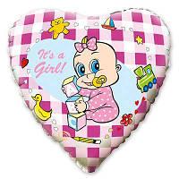 Фольгированный шар сердце - девочка ( гелиевый )