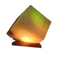 """Соляной светильник """"Куб"""" 9-10 кг с цветной лампочкой"""
