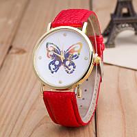 Женские часы Geneva Цветная Бабочка на ремешке из экокожи красные