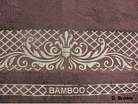 Махровая простынь 200х220 Бамбук Жаккард Viktoria. коричневая