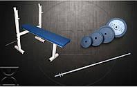 Скамья для жима RN Sport S40 усиленная + Штанга 72 кг