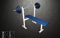 Скамья для жима RN Sport S40 усиленная + Штанга 85 кг