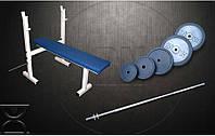 Скамья для жима RN Sport S40 усиленная + Штанга 115 кг