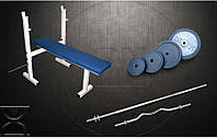 Скамья для жима RN Sport S40 усиленная + Штанга 72 кг + EZ-гриф