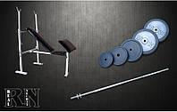 Скамья для жима RN Sport универсальная с приставкой Скотта + Штанга 115 кг