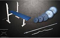 Скамья для жима RN Sport S40 усиленная + Штанга 115 кг + W-образный гриф