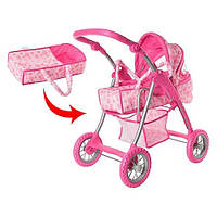 Качественная коляска для кукол лежачая 9388, 72*72*44 см, корзина, высокая ручка