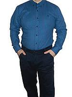 Рубашка в мелкую клетку мужская приталенная Турция размеры S, M, L, XL, XXL ATZ